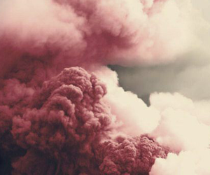 pink, smoke, and clouds image