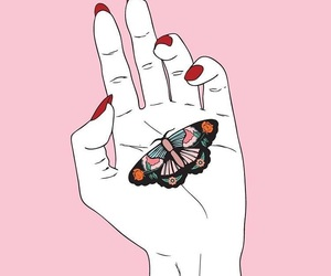 butterfly, pink, and hand image