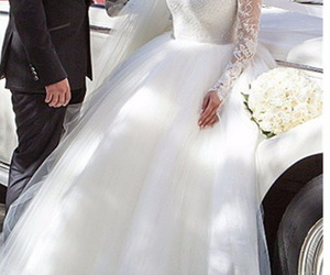 off the shoulder, sexy ball gown, and long sleeved bridal dress image