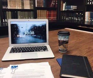 books, bookshelves, and coffee image