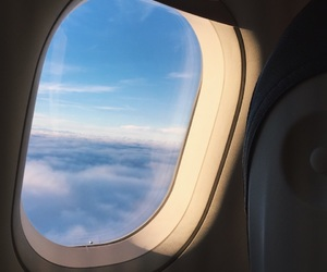 airplane, tumblr, and clouds image