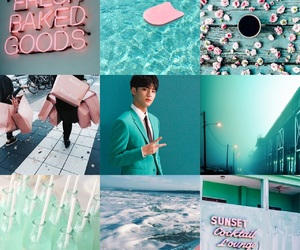 aesthetic, Seventeen, and teal and pink image