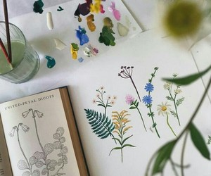 art, book, and flower image