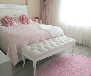 bed, bedroom, and flower image