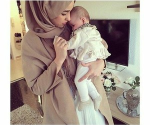 baby, muslim, and hijab image