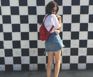 backpack, black and white, and checkered image