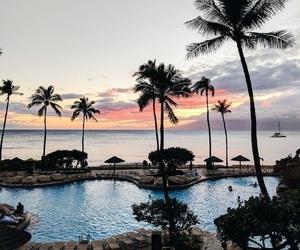 sunset, beach, and pool image