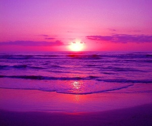 purple, sunset, and ocean image
