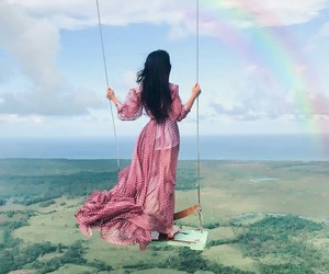 rainbow, beautiful, and dress image