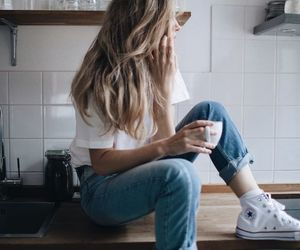 girl, beauty, and coffee image