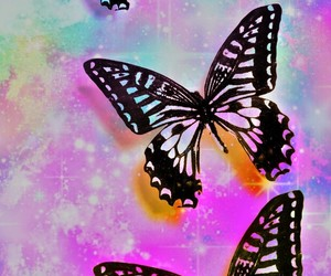 butterfly, background, and galaxy image