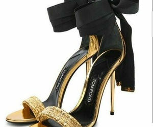 gold, heels, and black image