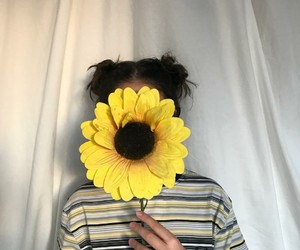 girl, sunflower, and tumblr image