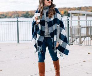 outfit, poncho, and fall image