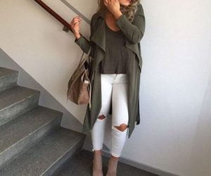cardigan and olive green vest image