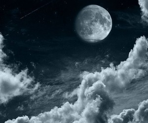 moon, space, and cloudporn image