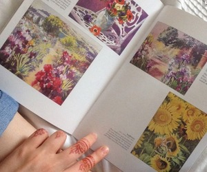 art, book, and flowers image