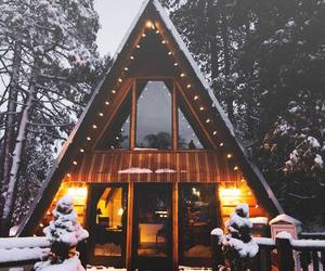 cabin, cabins, and winter image