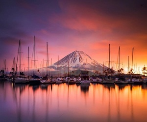 beautiful, mountains, and sunset image