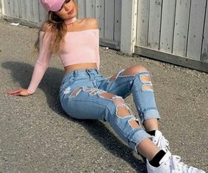 girl, jeans, and pink image