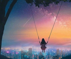 girl, lights, and swing image