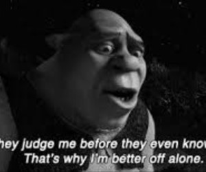shrek, alone, and judge image