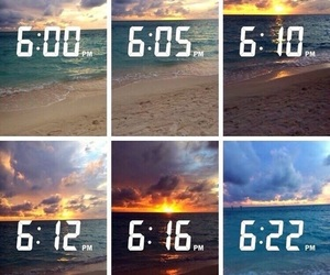 beach, sky, and time image