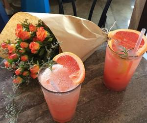 flowers, drink, and orange image