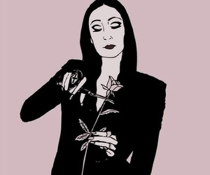 morticia, art, and rose image