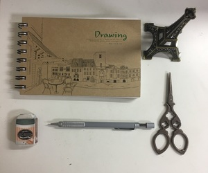 eraser, mechanical pencil, and scissors image
