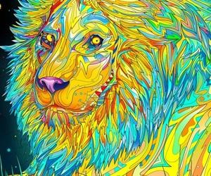 animal, colorful, and lion image