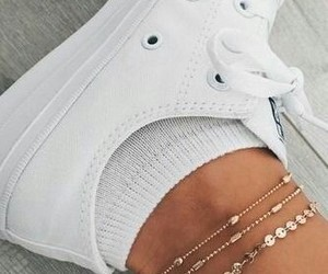 ankle, white, and bracelets image
