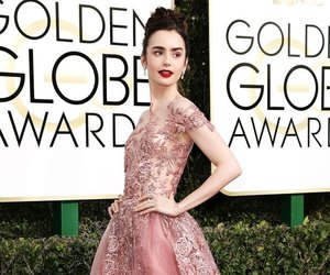 lily collins, dress, and pink image