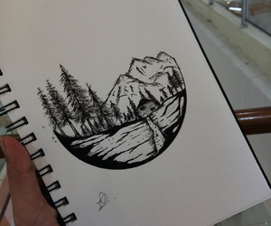 art, doodle, and mountains image