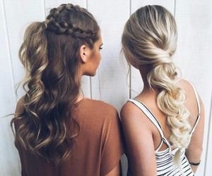 blonde, blonde hair, and brunette image