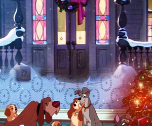art, christmas, and lady and the tramp image