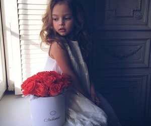 girl, baby, and flowers image