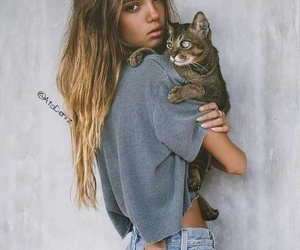 cat, jeans, and girl image