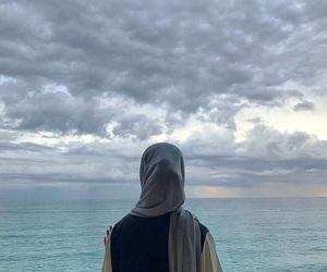 back, sea, and girl image
