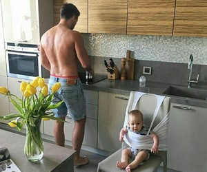 baby, family, and kitchen image