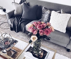 bouquet, flowers, and sofa image