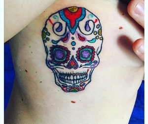 color, skull, and mexican image