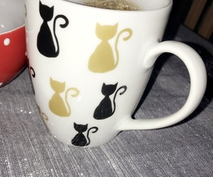 cat, cat lady, and coffee image