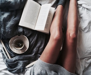 book, bed, and cozy image