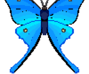 blue, butterfly, and pixel image