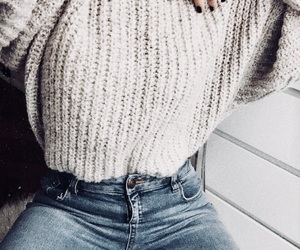 sweater, denim, and fashion image
