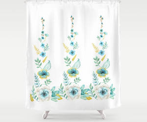 blue flowers, etsy, and blue bathroom image