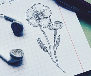 black, doodle, and flowers image