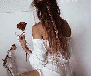 beautiful, girl, and rose image