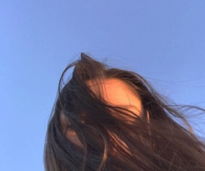 aesthetic, blue sky, and brunette image